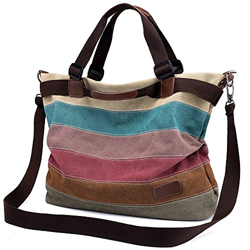 Women's Canvas Handbag, Unives Ladies Vintage Tote Hobo Shoulder Bag Shopping Bags Top-handle Satchel Multi-colored,Large (Large Hobo Tote Handbag)
