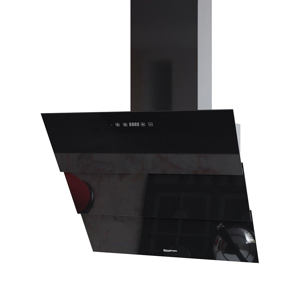 BERGSTROEM ROLLO Dunstabzugshaube Glas LED Wandhaube Schräghaube kopffrei Fernbedienung (60 cm, schwarz)