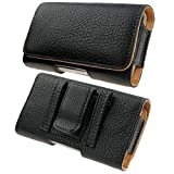 Kingsource iPhone 5 iPhone 5S iPhone 5C iPhone SE Black Leather Pouch Holster Case with Metal Belt Clip