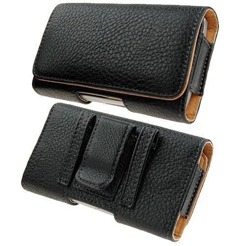 Kingsource Quality Black Leather Pouch Holster Case with Metal Belt Clip for iPhone 5 iPhone 5S iPhone 5C iPhone SE Color Black ()