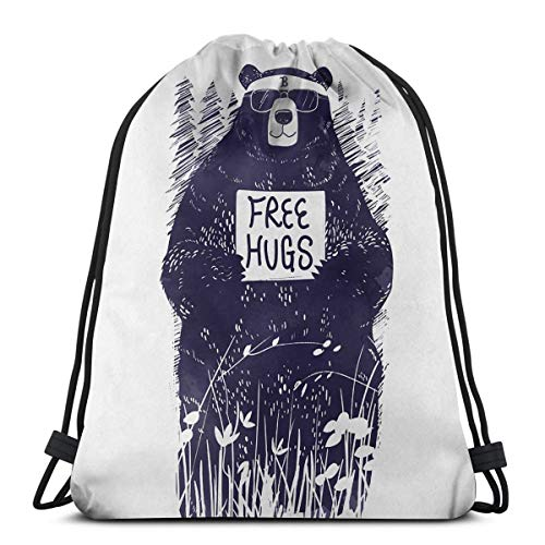Wangchangjin Drawstring Bags Free Hugs Sport Gym Tennis Casual Daypack Backpacks Swimming Hiking Yoga Portable Travel for Women and Men ()