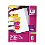 Avery Top Tab Durable Write-On Dividers, 9 x 11 Inches, 5-Tab Set (16173)