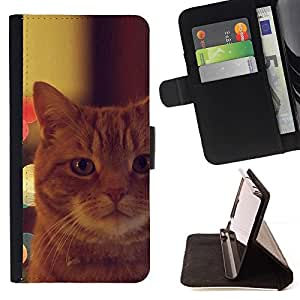Momo Phone Case / Flip Funda de Cuero Case Cover - Gato Garfield Jengibre Naranja Mestizo; - Samsung Galaxy S4 IV I9500