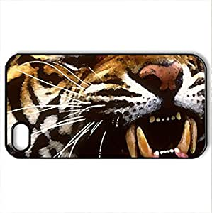 Bengal Tiger Primarily in India - Case Cover for iPhone 4 and 4s (Cats Series, Watercolor style, Black)