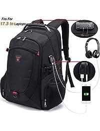 Tzowla 17.3 In Travel Laptop Backpack Anti-Theft Water Resistant Business Backpack TSA Lock & USB Charging Port TSA Friendly Computer Backpack Men Women College School Bag Fit 17.3 inch Laptop (Black)