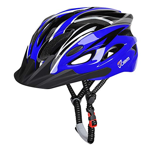 JBM Adult Cycling Bike Helmet Specialized for Men Women Safety Protection CPSC Certified (18 Colors) Black/Red/Blue/Pink/Silver Adjustable Lightweight Helmet (Blue & Black (New), Adult)