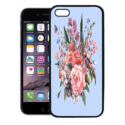 Hyacinth Rose Bouquet - Semtomn Phone Case for iPhone 8 Plus case,Gentle Spring Floral Bouquet Roses Hyacinths Butterfly and Wild Flowers in Vintage Watercolor iPhone 7 Plus case Cover,Black