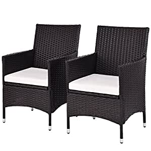 2 pcs of Patio Dining Chairs Arm Seat Cushions Outdoor Indoor Rattan Wicker