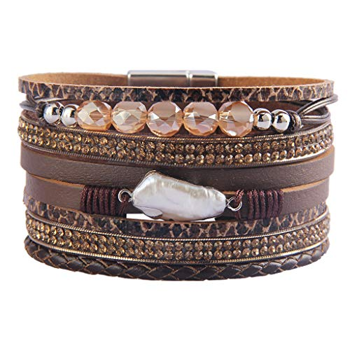 AZORA Leather Wrap Bracelets for Women Baroque Pearl Crystal Charm Handmade Cuff Bracelet with Magnetic Buckle Gorgeous Bohemian Bangle Jewelry for Women Teen Girls Sister Mum