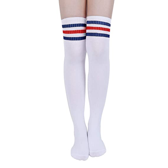 Women Knit Knee High Socks with Strips Fashion Thigh High Stockings for Cosplay