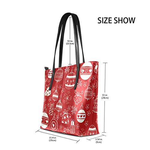 Red Leather Top PU Totes Bags Handbag Fashion Women's Christmas Handle Purses Shoulder TIZORAX x1wUqdHAnx