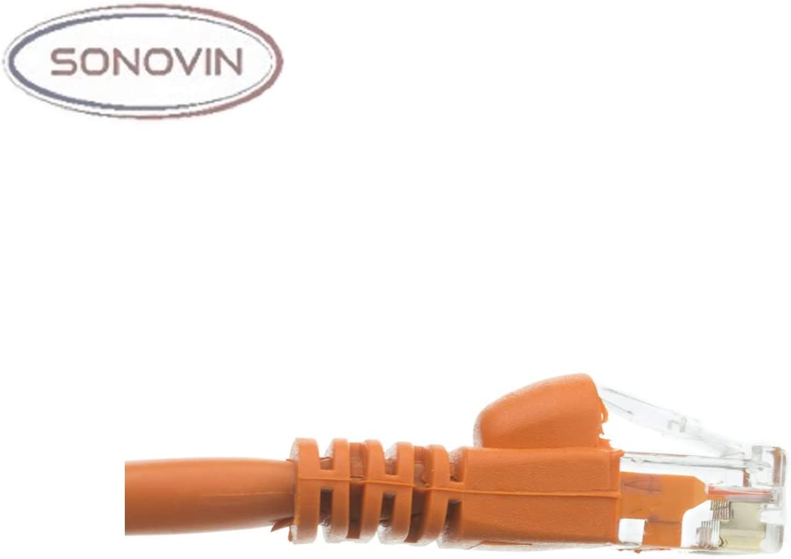 Cat6a Orange Ethernet Patch Cable Snagless//Molded Boot 10 Foot Color:Orange 500 MHz Sonovin