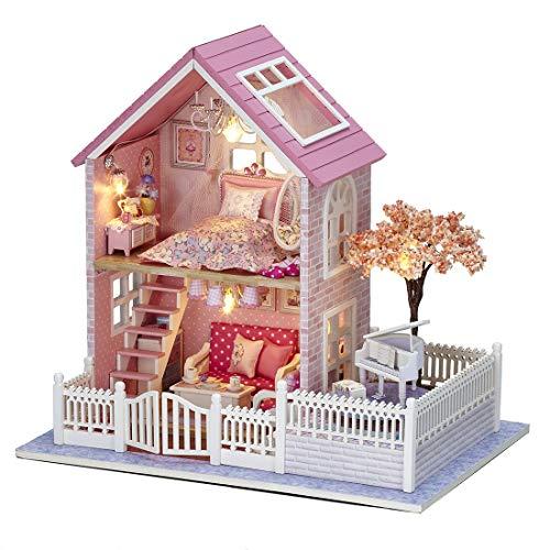 Oriental Garden Music Box - PeleusTech® DIY Dollhouse Piano Interesting Toy Creative Gift Girls Kids - Pink Oriental Cherry