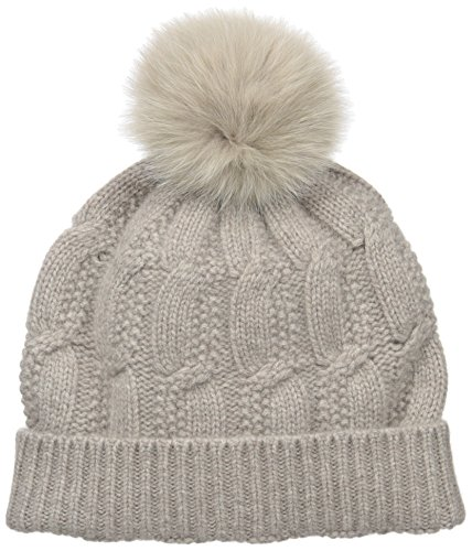 Sofia Cashmere Women's 100% Cashmere Cable Seed Stitch Hat with Fox Fur Pom, Taos, One Size by Sofia Cashmere