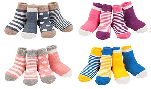 LUXEHOME (YR1607) Cozy 4 Style Baby Toddler Socks,16 Pairs per Pack X-Small
