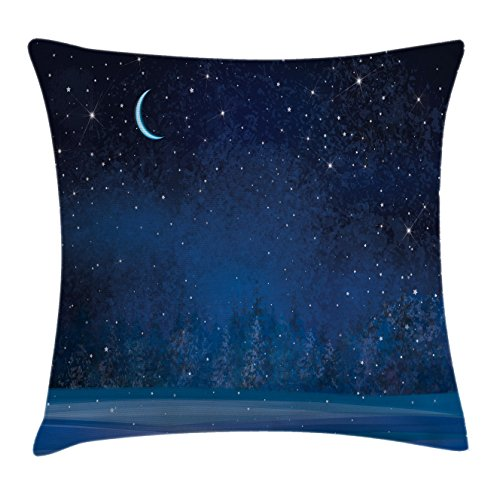 Moon Decor Throw Pillow Cushion Cover by Ambesonne, Mystic Winter Wonderland with Starry Sky Dark Night Magical Forest Landscape, Decorative Square Accent Pillow Case, 16 X 16 Inches, Dark Blue