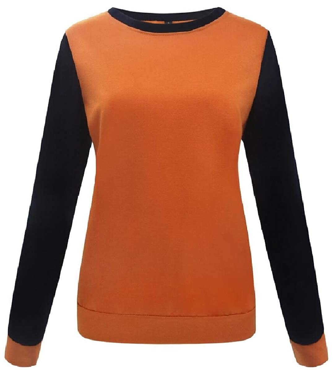 FLCH+YIGE Womens Color Block Tops Casual Crewneck Long Sleeve Pullover Sweatshirts