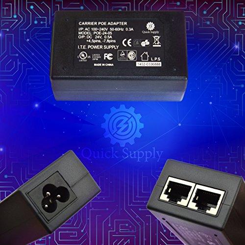 Quick Supply Gigabit PoE Injector - I/P-A/C 240V, 60HZ 0.3 Amp O/P-DC 24V, 0.5 Amp - IEEE 802.3af Compliant - Range up to 100 Meters (328 Feet)