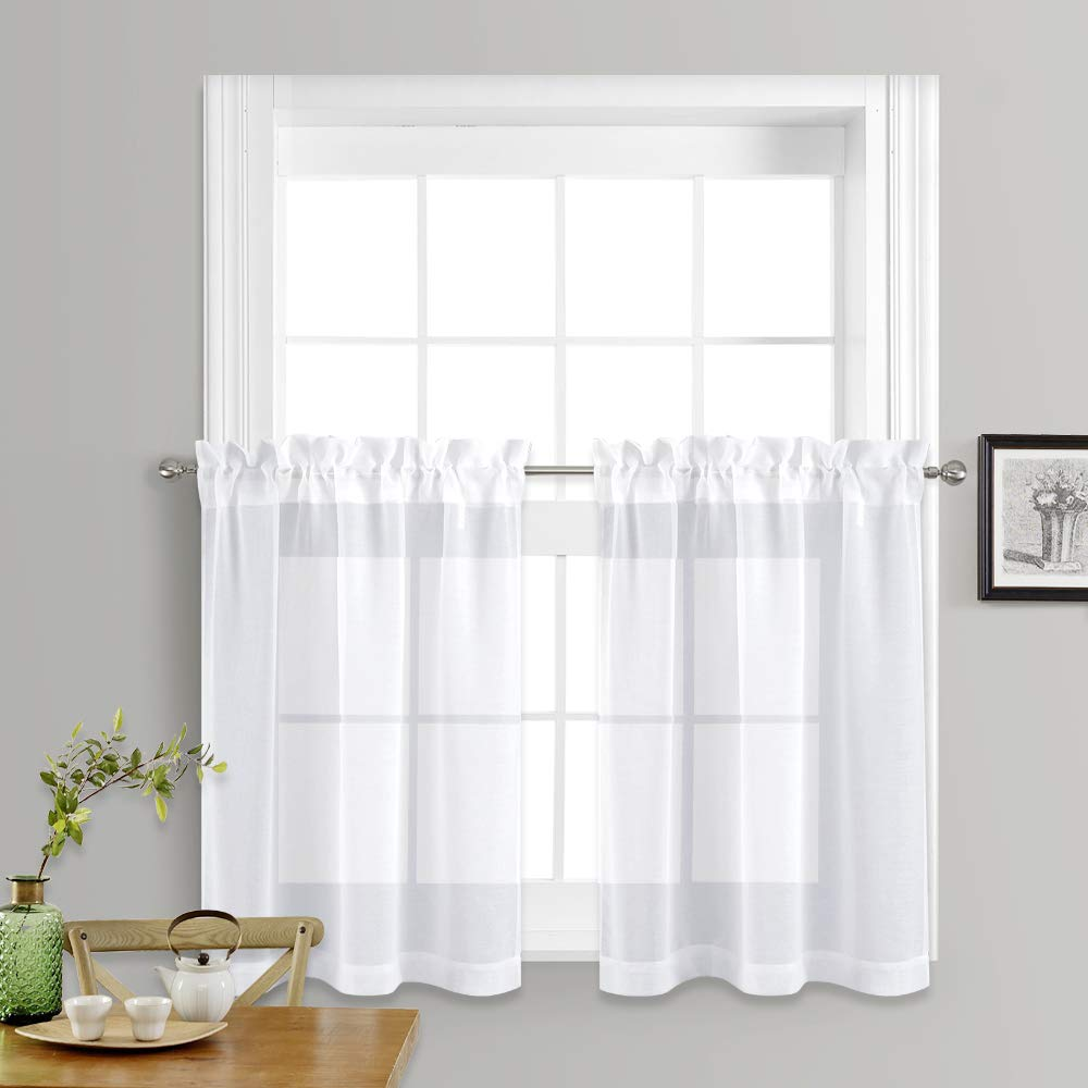 "NICETOWN Sheer Curtains for Kitchen Window - Home Fashion Faux Linen Voile Drapes for Small Windows (White, Set of 2 Panels, 55"" Wide x 36"" Long)"