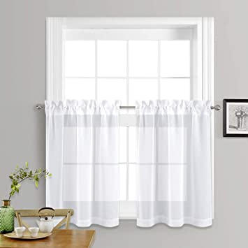 Amazoncom Nicetown Sheer Curtains For Kitchen Window Home