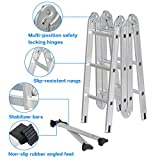 Finether 12.1 ft Extendable Folding Ladder Heavy Duty Multi Purpose Aluminum Ladder with Locking Hinges, 2 Panels