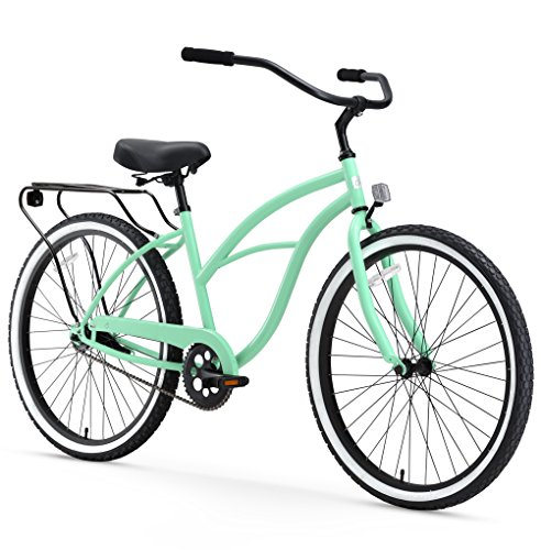 "sixthreezero Around The Block Women's Single Speed Cruiser Bicycle, Mint Green w/ Black Seat/Grips, 26"" Wheels/17"" Frame"