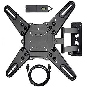 VideoSecu ML531BE2 TV Wall Mount kit with Free Magnetic Stud Finder and HDMI Cable for Most 26-55 TV and New LED TV up to 60 inch VESA 400×400 Full Motion with 20 inch Articulating Arm WP5