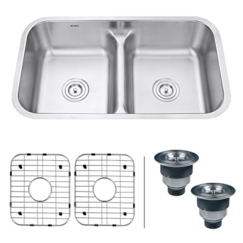 Ruvati 32-inch Low-Divide 50/50 Double Bowl Undermount 16 Gauge Stainless Steel Kitchen Sink – (Sink Divider)
