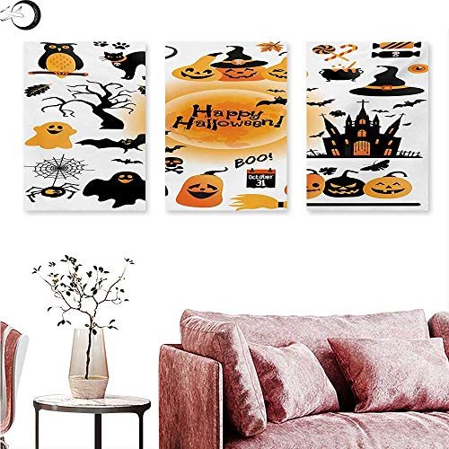 Anniutwo Halloween Canvas Prints Wall Art All Hallows Day Objects Haunted House Owl and Trick or Treat Candy Black Cat Triptych Art Set Orange Black W 24