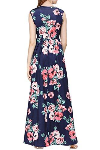 YMING Mujer Beachwear vestido floral de verano Boho vestido maxi vestido casual más el tamaño Azul, sin mangas vestido maxi