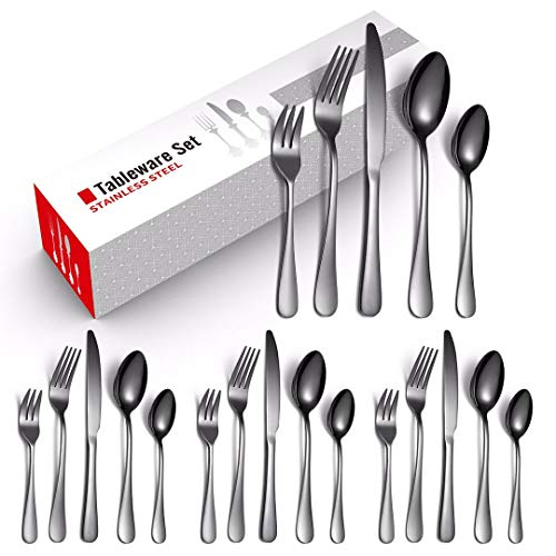 20-Piece Silverware Flatware Cutlery Set, Stainless Steel, Includes 4 Each of Forks/Spoons/Knives (Black), with 80 Pack…