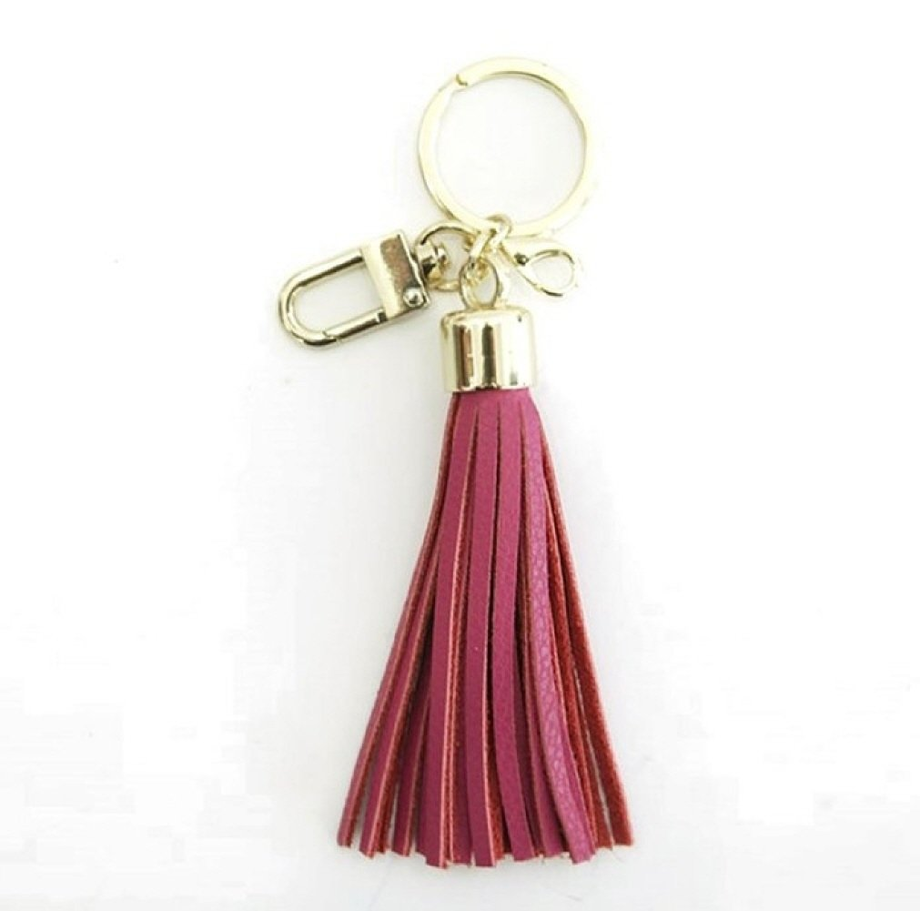 Leather Tassel Charm Women Handbag Wallet Accessories Key Rings (Hot-pink)