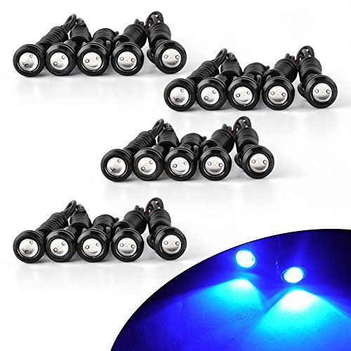 YITAMOTOR Eagle Eye LED 23MM Ultra Thin White Light Silver Shell LED Blubs Daytime DRL Running Fog Tail Light Backup (18mm +Blue, 18mm +Blue)
