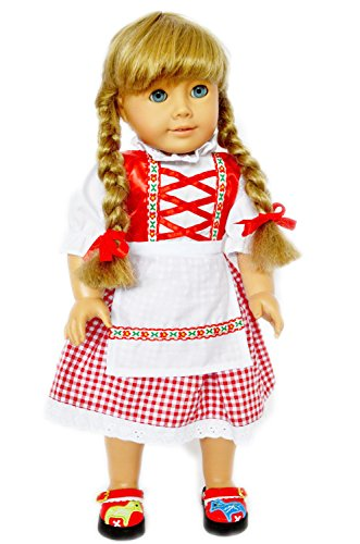 Swedish Dress (RED SWEDISH DRINDL COLONIAL OUTFIT FOR 18 INCH AMERICAN GIRL DOLLS)