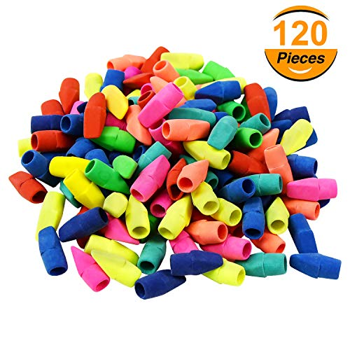 Pencil Top Eraser Caps Arrowhead Eraser Top Cap for Any Standard Pencil, Mixed Colors in Bulk Pack of 120