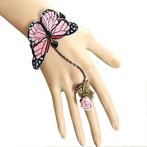 Acxico® Lolita Anime style Butterfly Velvet Chain Bracelet With Gem Silk Flower Ring