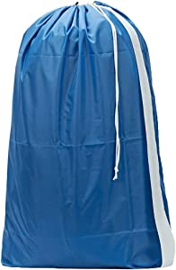 HOMEST XL Nylon Laundry Bag with Strap, Machine Washable Large Dirty Clothes Organizer, Easy Fit a Laundry Hamper or Basket, Can Carry Up to 4 Loads of Laundry, Light Blue, (Patent Pending)