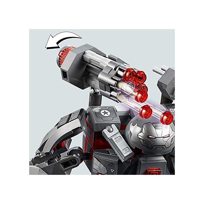5112uZDLz4L Este set de superhéroes para construir incluye 4 minifiguras del universo Marvel: Máquina de Guerra, Ant-Man y 2 Outriders. El robot Depredador de Máquina de Guerra cuenta con cabina abatible para una minifigura, cañón rápido de 6 disparos, 2 cañones desmontables, 2 misiles, brazos y piernas articulados, manos prensiles y un compartimento que se abre para guardar munición adicional. Desmonta los cañones y colócalos en las manos y el hombro de la minifigura de Máquina de Guerra.