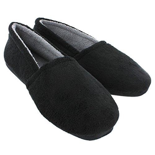 Men's Fleece Lined Slippers (5, Black)