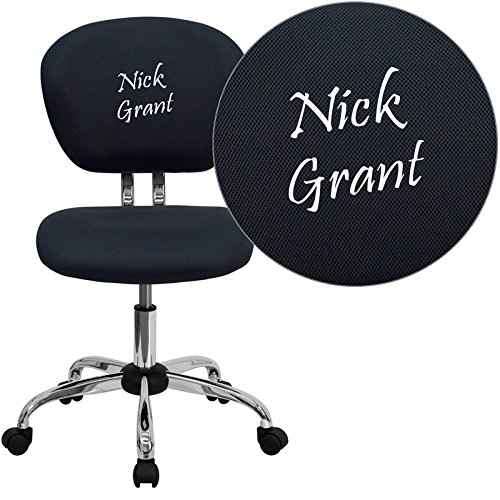 Mid-Back Mesh Embroidered Task Chair Finish: Gray, Arm Option: Not Included (Embroidered Mid Back Mesh)