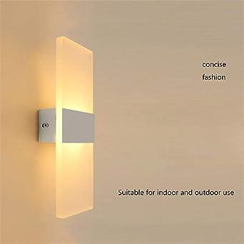 Lavabo lámpara lámpara de noche sala de estar hotel ingeniería escalera pasillo balcón dormitorio cálido moderno minimalista TV fondo lámpara de pared LED10 × 5 × 27cm-blanco-luz fría: Amazon.es: Iluminación
