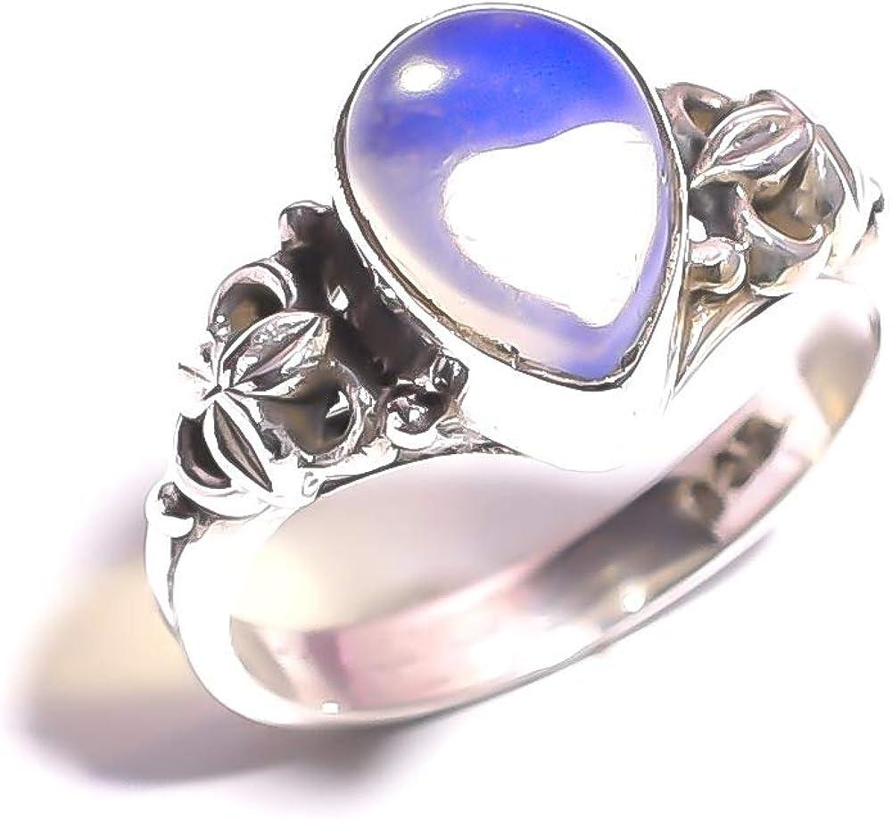 mughal gems & jewellery Anillo de Plata esterlina 925 Anillo Fino de la joyería de la Piedra Preciosa del ópalo lechoso Natural para Las señoras (tamaño 6 US)