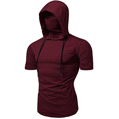 Men's Sleeveless Hooded Vest Fashion Slim Fit Hooded Shirt SFE Summer Comfortable Blouses Tops Tunic Hooded Tank at Men's Clothing store