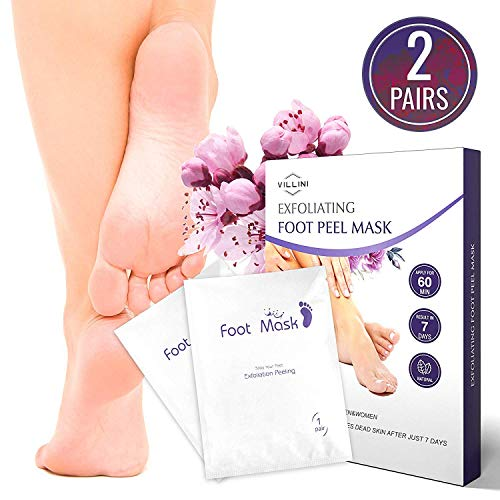 Villini Foot Peel Mask - Deep Exfoliating Peel Off Mask for Women and Men - Foot Peeling Mask - Calluses and Rough Dead Skin Remover - Wow-Effect after One Use - 2 Pairs