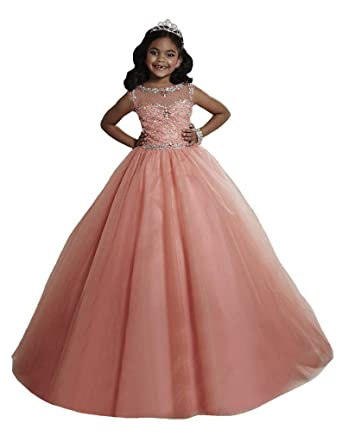 Amazon.com: YIPEISHA Girls Pageant Dresses Beading Crystal Full ...