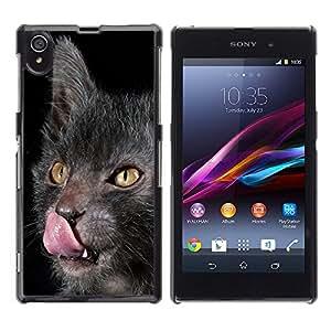 Vortex Accessory Carcasa Protectora Para Sony Xperia Z1 L39 C6902 C6903 C6906 C6916 C6943 - Lykoy Cat Licking Tongue Grey Yellow -