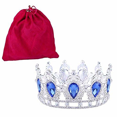 Stuff Clear Rhinestone Teardrop Crown Tiaras Crystal Headband(Blue) by Stuffwholesale