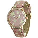 TimeMax Stars Pattern Printed No Hour Pointers Dial and Straps Lady Watches 12 Edges and Corners Convex Prism Crystal Gold Case Women Japan Quartz Analog Stylish Casual Dress Wristwatch Girls Gifts