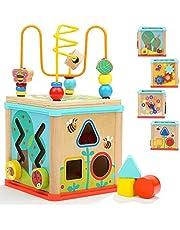 TOP BRIGHT Houten Activiteitenkubus 5-in-1 – Houten Activiteitentafel voor Peuters van 1, 2 jaar oud - Educatief Centrum met Doolhof met Kralen en Sorteren - Leuk en Boeiend Speelgoed voor Jongens Meisjes