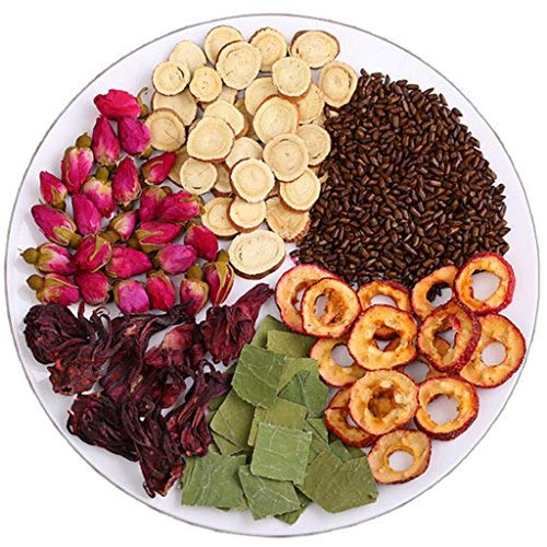 Helen Ou@Natural Herbal Tea Combination of Roses Hawthorn Roselle Cassia Seed Lotus Leaf 200g/7.05oz/0.44lb